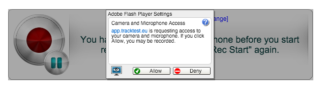 Allow flash plugin for the Speaking test - TrackTest English