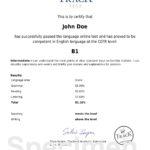 Certificat d'Anglais niveau Intermédiaire