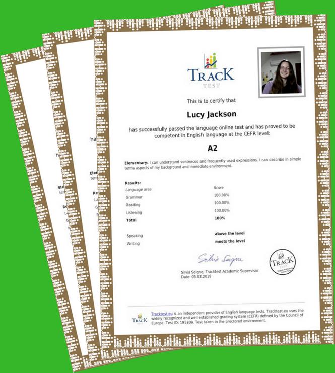 Verified English certificate ✅- TrackTest English